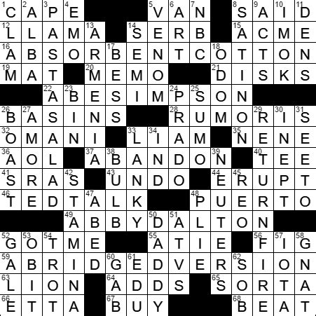 LA Times Crossword Answers 2 May 17, Tuesday