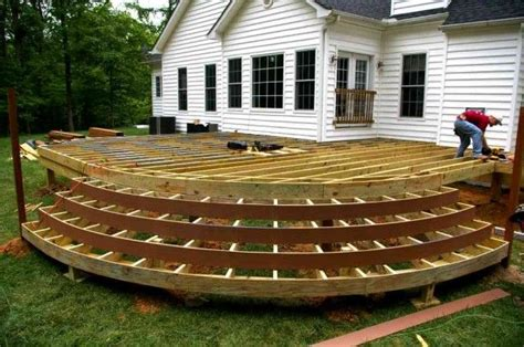 curved deck with steps, no railing   Wood deck designs