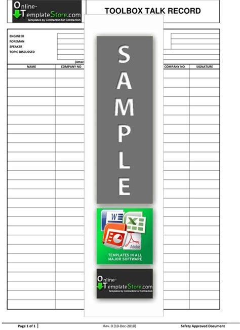 Toolbox Talk Record   Health and safety, Templates, Report