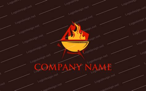 BBQ grill with fire   Logo Template by LogoDesign