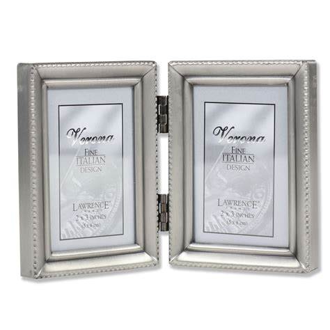 Antique Pewter Hinged Double 2x3 Picture Frame - Beaded