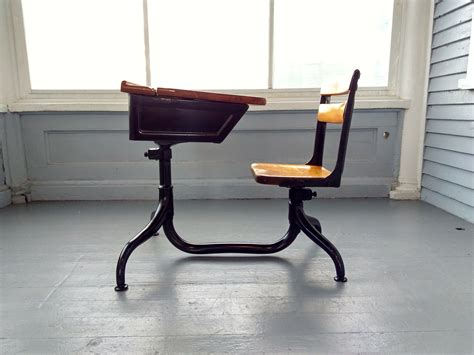 Antique School Desk Kids Desk and Chair Metal and Wood