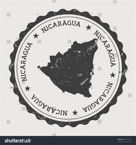 Republic Nicaragua Hipster Round Rubber Stamp Stock Vector