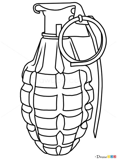 How to Draw Grenade, Guns and Pistols - How to Draw