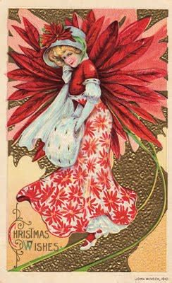 Free Victorian Clip Art - Christmas Girl with Pointsettia