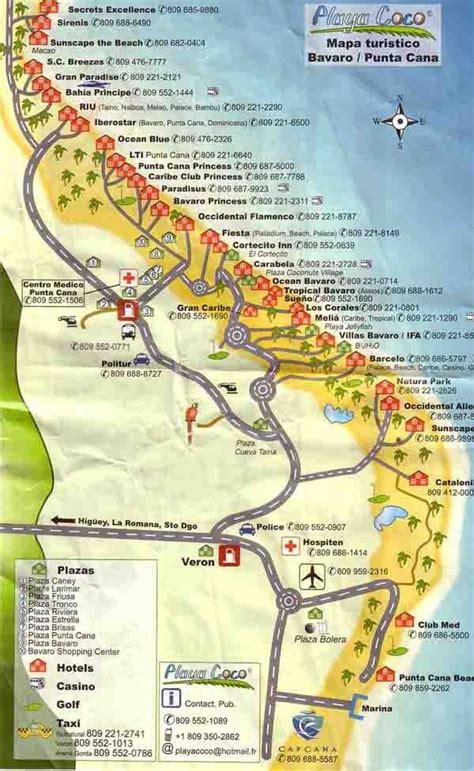 This detailed Punta Cana tourist map shows the location of