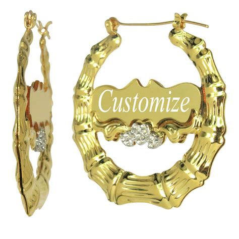 Custom Personalized Gold Bamboo Hoop Earrings with Name 1