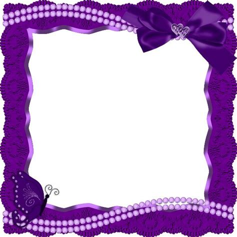 Purple Transparent Frame with Butterfly Ribbon and Pearls