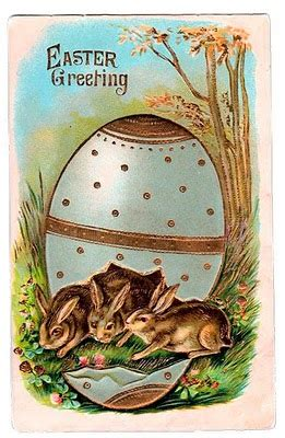 Free Victorian Graphic - Easter Bunnies in Egg - The