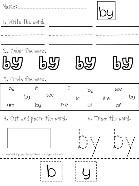 11 Best Images of Cut And Paste Sight Word Worksheets