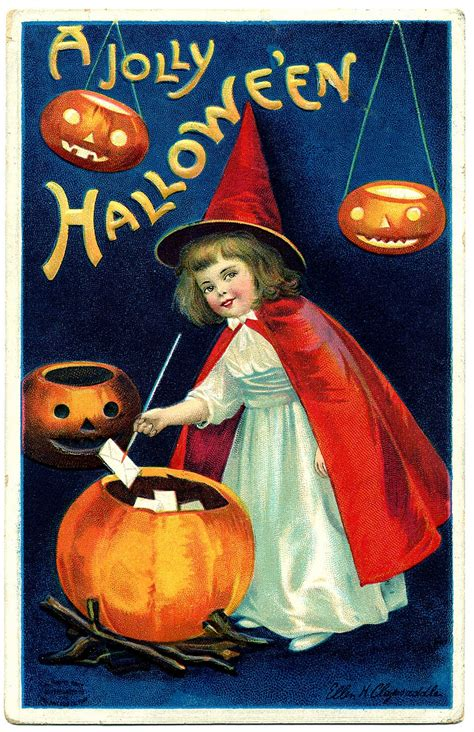 Vintage Halloween Clip Art - Sweet Little Witch Girl - The
