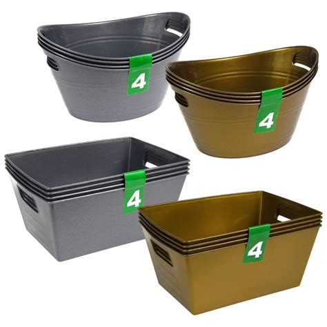 Rectangular and Oval Plastic Baskets with Handles, 4-ct