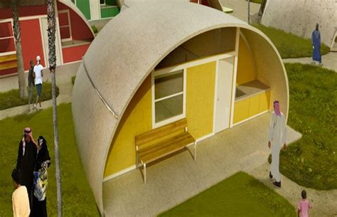 Dome-shaped Binishell homes constructed from inflatable