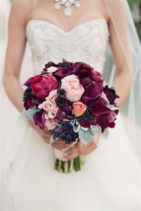 Romantic Burgundy Purple and Pink Fall Bridal Bouquet